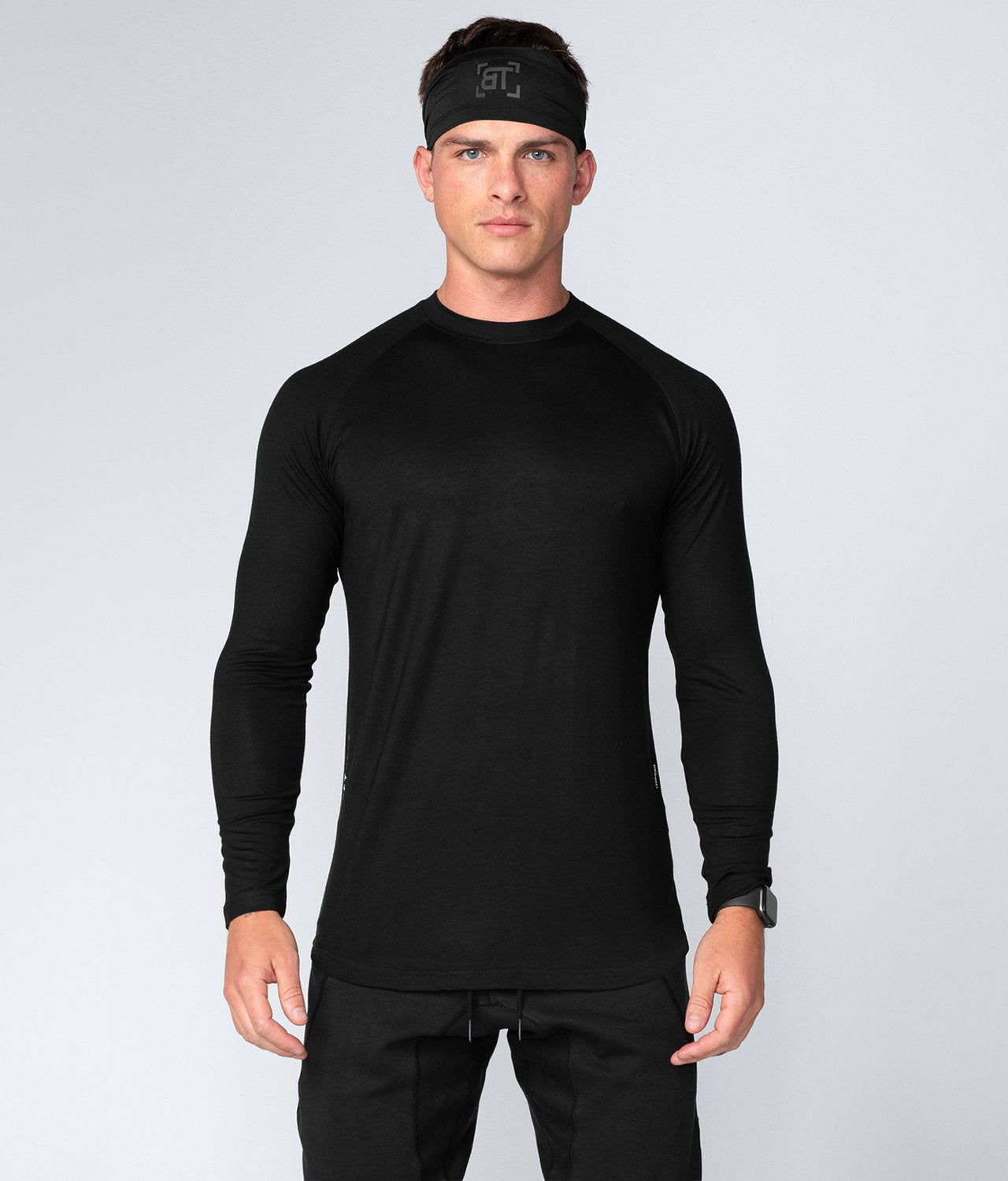 Born Tough United Kingdom Core Fit Extremely Durable Black Long Sleeve Gym Workout Shirt For Men