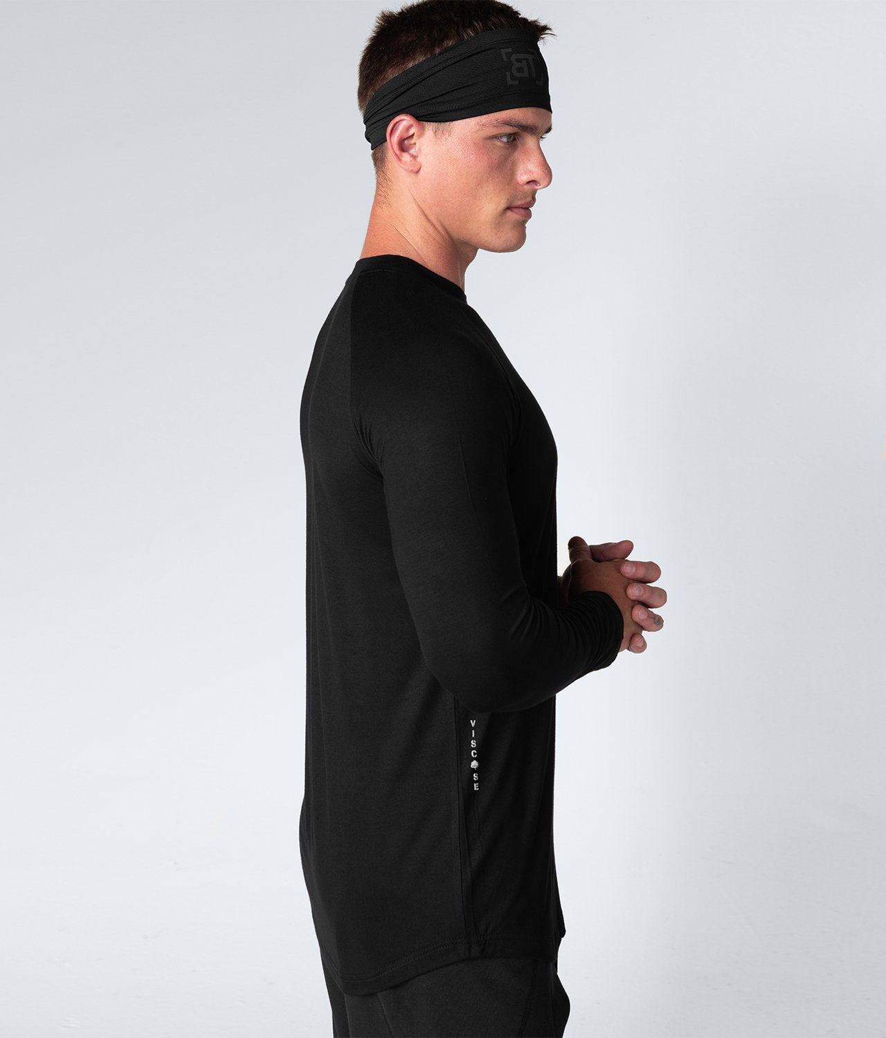 Born Tough United Kingdom Core Fit Extended Scallop Hem Black Long Sleeve Gym Workout Shirt For Men