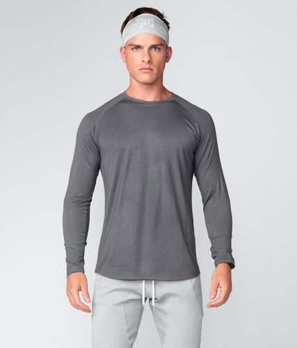 Born Tough United Kingdom Core Fit Extremely Durable Gray Long Sleeve Gym Workout Shirt For Men