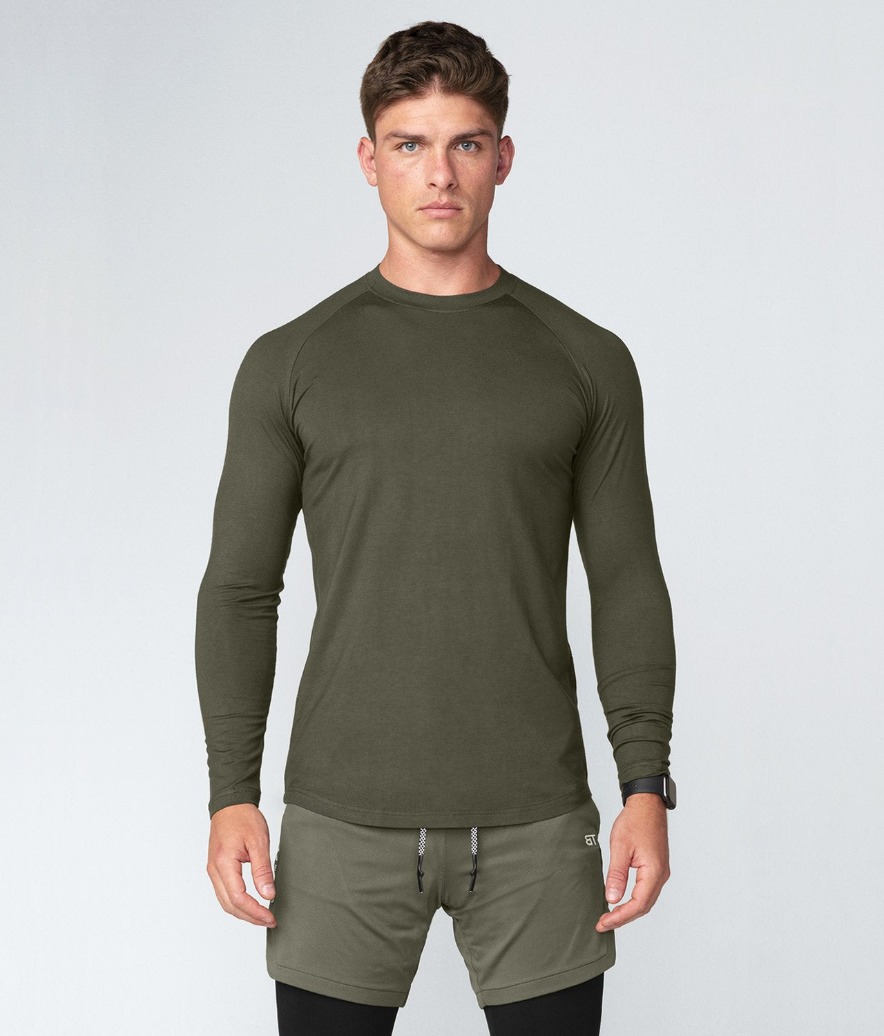 Born Tough United Kingdom Core Fit Extremely Durable Army Green Long Sleeve Gym Workout Shirt For Men