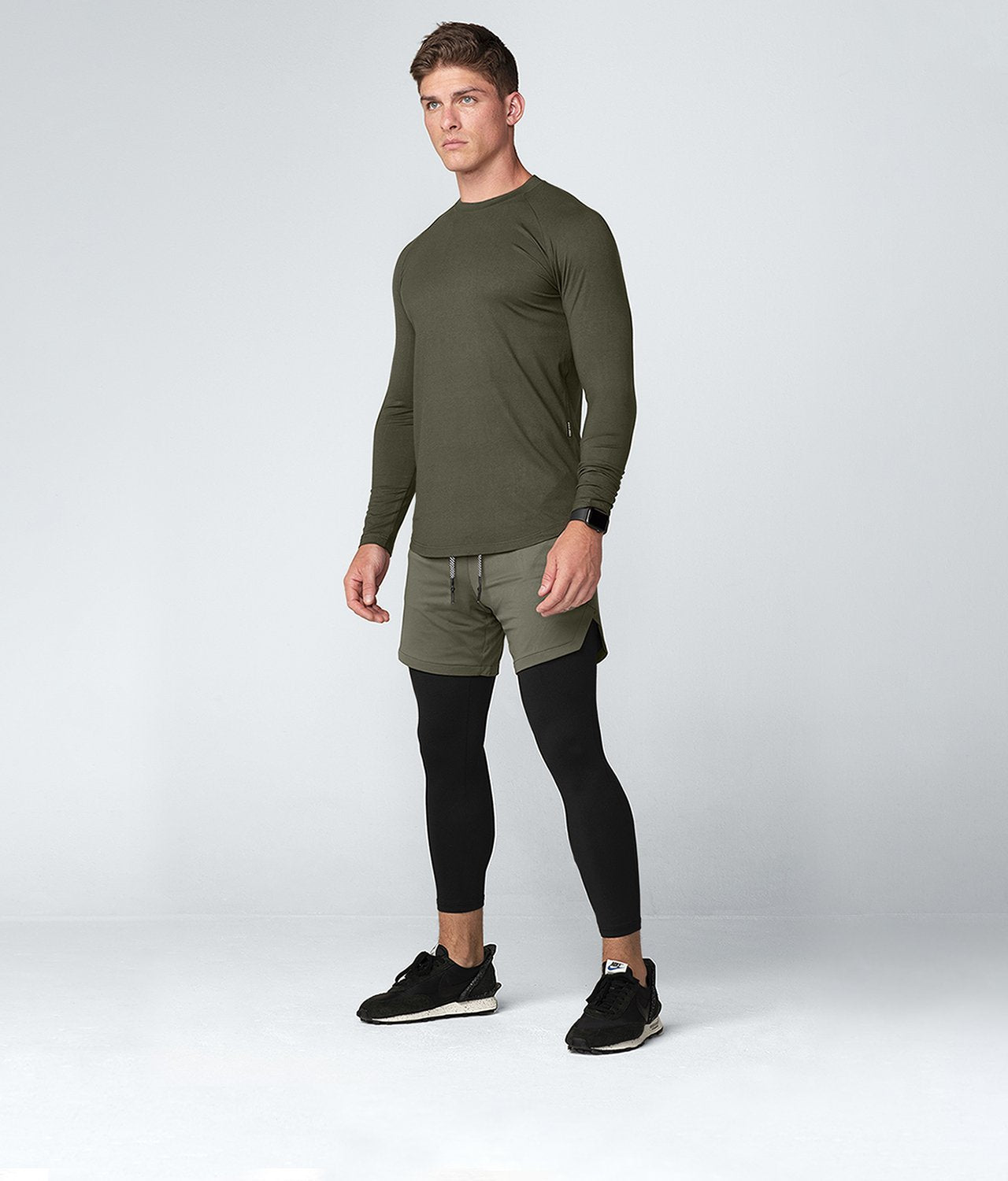 Born Tough United Kingdom Core Fit Stretchable Army Green Long Sleeve Gym Workout Shirt For Men