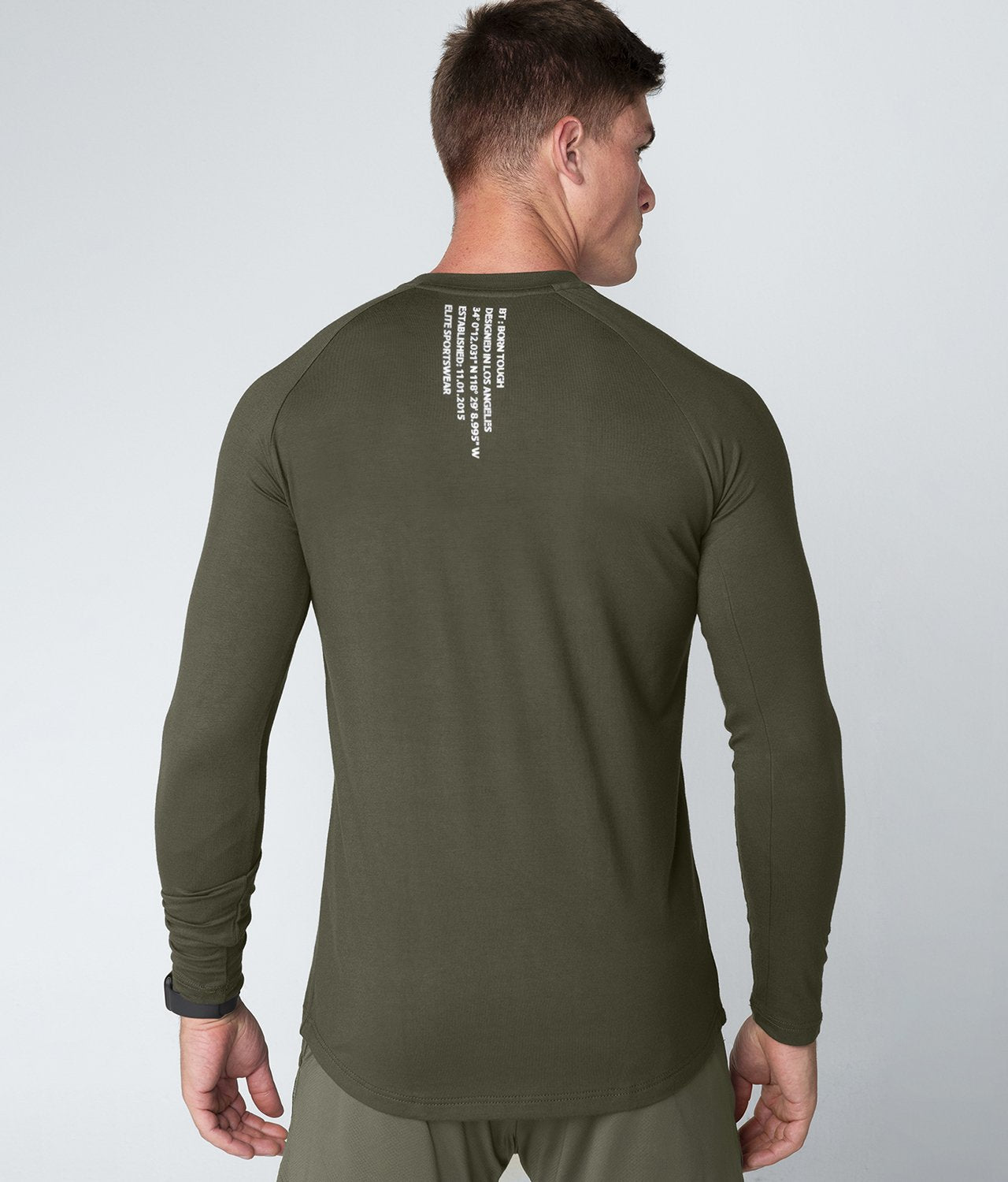 Born Tough United Kingdom Core Fit Breathable Army Green Long Sleeve Gym Workout Shirt For Men