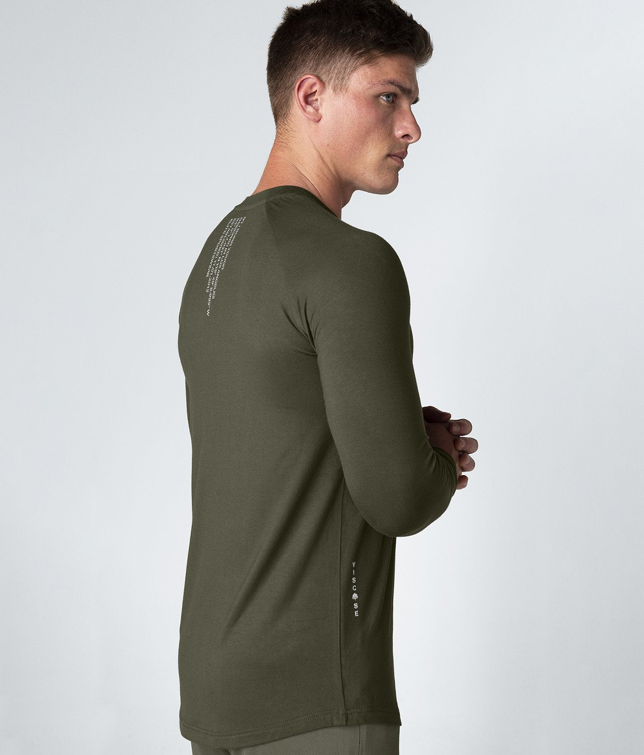 Born Tough United Kingdom Core Fit Extended Scallop Hem Army Green Long Sleeve Gym Workout Shirt For Men