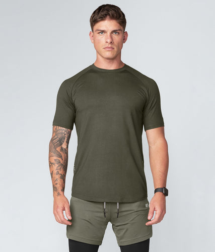 Born Tough United Kingdom Core Fit Multi-Function Blending Military Green Short Sleeve Gym Workout Shirt For Men