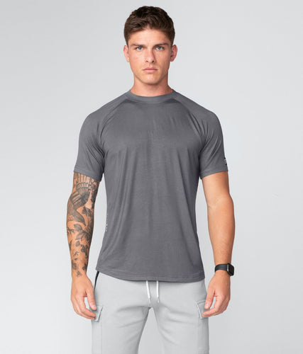 Born Tough United Kingdom Core Fit Multi-Function Blending Gray Short Sleeve Gym Workout Shirt For Men