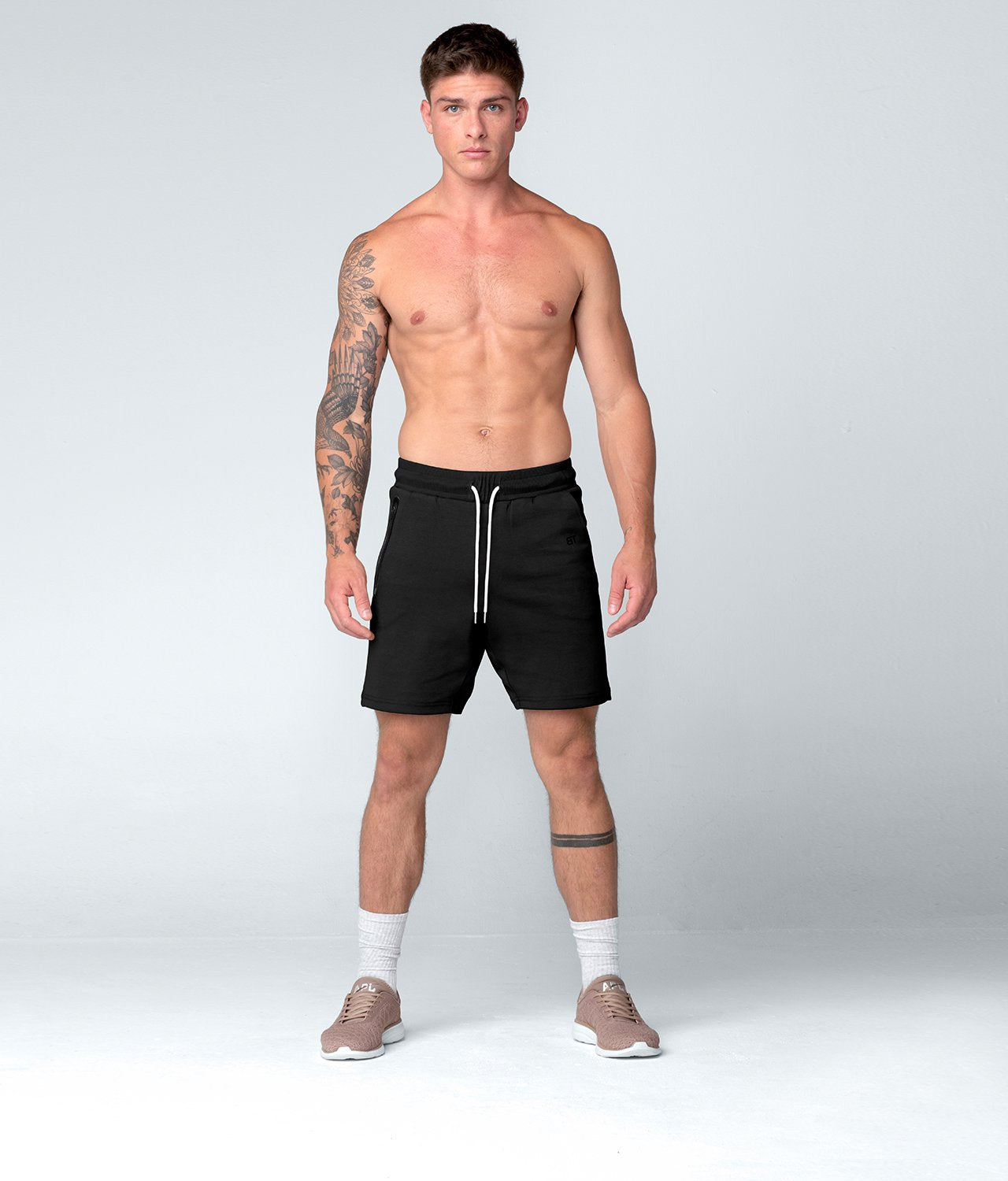 Born Tough United Kingdom Core Fit Zippered Flatlock Seamed Black Gym Workout Shorts for Men