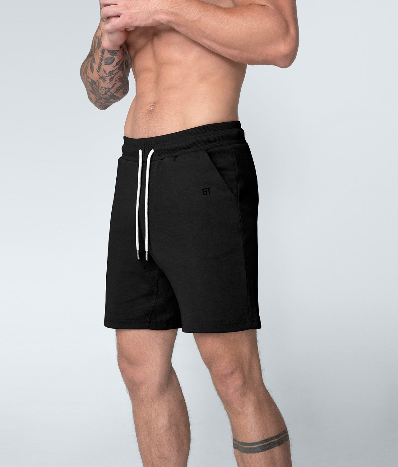 Born Tough United Kingdom Core Fit Zippered Breathable Black Gym Workout Shorts for Men