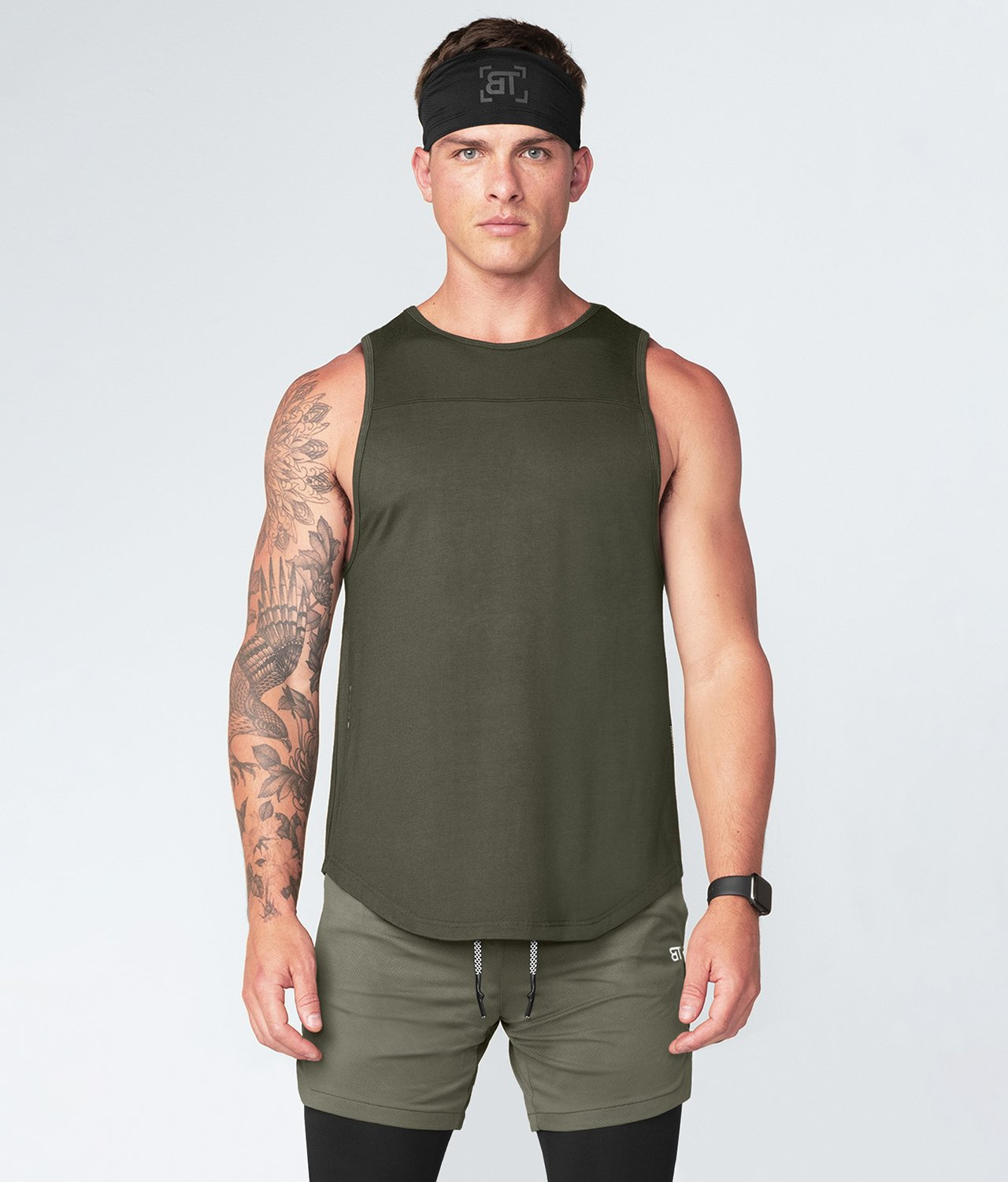 Born Tough United Kingdom Core Fit Extended Front & Back Hems Army Green Gym Workout Tank Top for Men