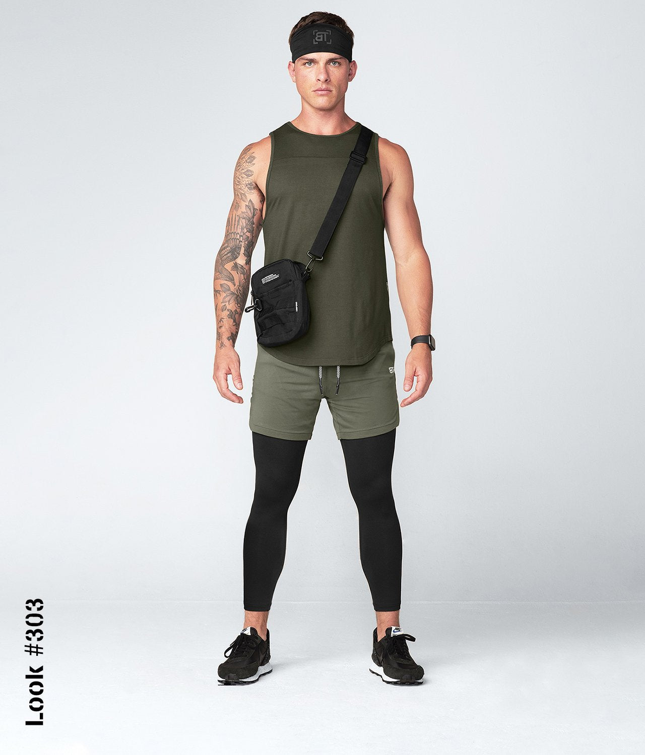 Born Tough United Kingdom Core Fit Signature Blend Army Green Gym Workout Tank Top for Men