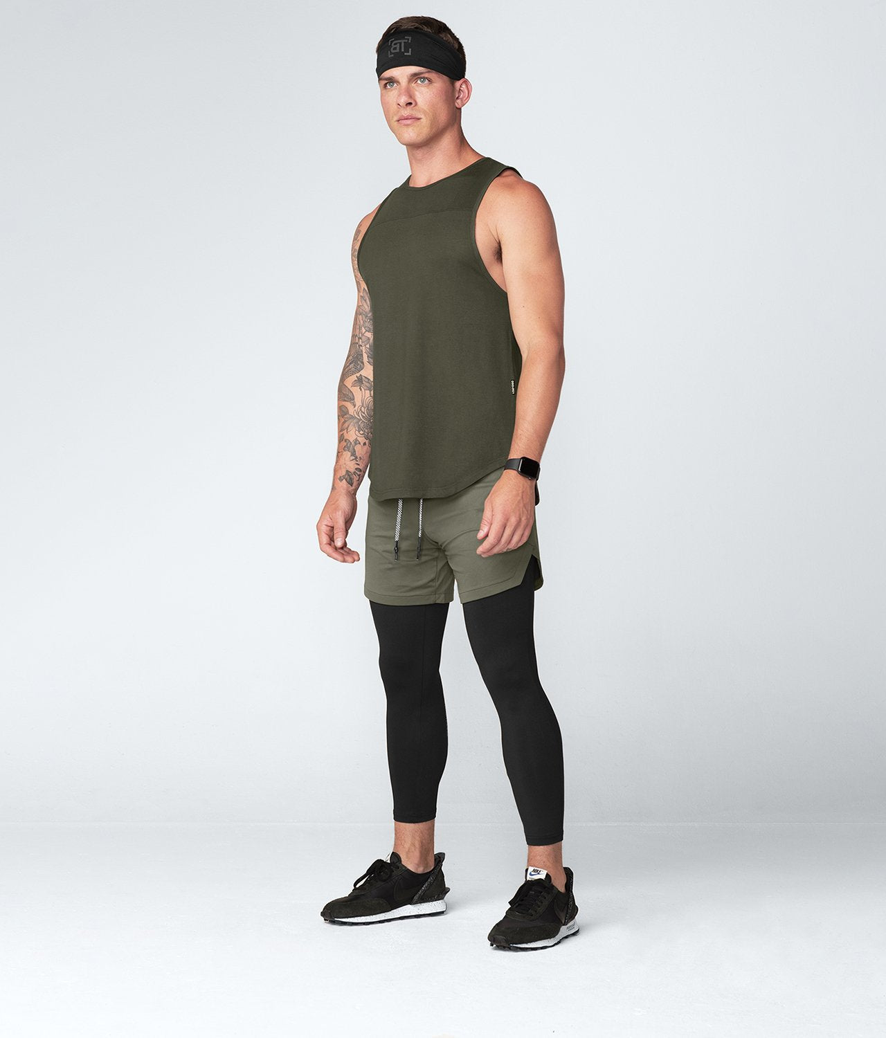 Born Tough United Kingdom Core Fit Light-Weight Army Green Gym Workout Tank Top for Men
