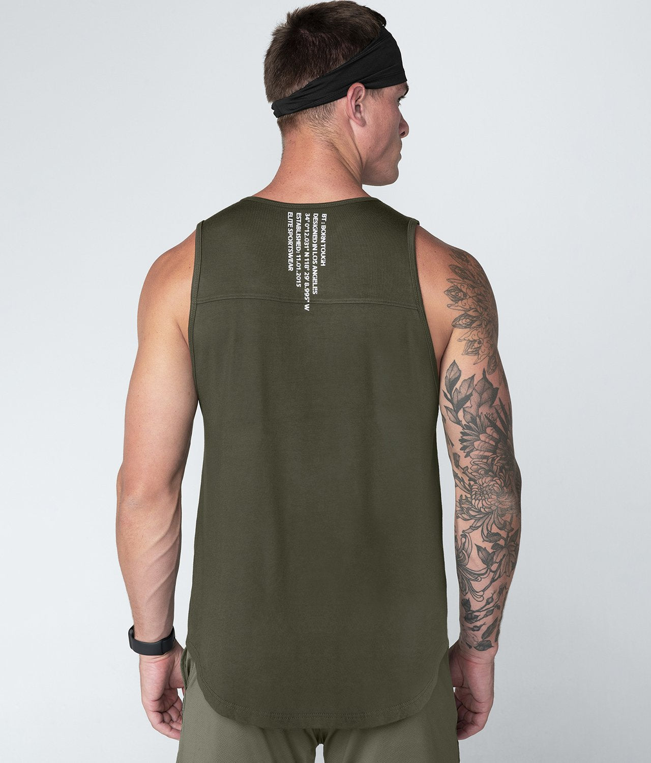 Born Tough United Kingdom Core Fit Stretchable Army Green Gym Workout Tank Top for Men