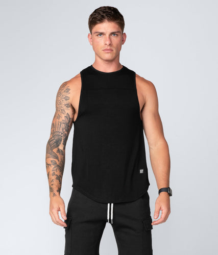 Born Tough United Kingdom Core Fit Extended Front & Back Hems Black Gym Workout Tank Top for Men