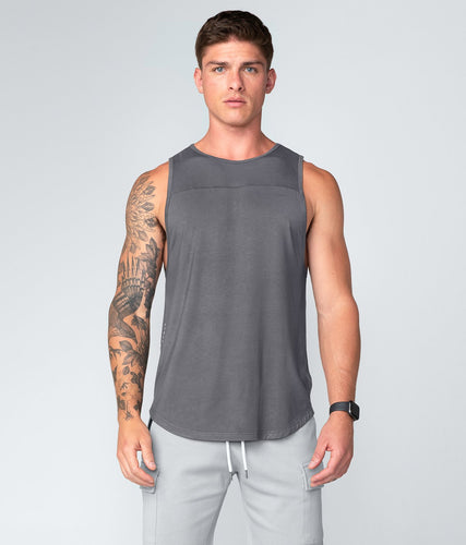 Born Tough United Kingdom Core Fit Extended Front & Back Hems Gray Gym Workout Tank Top for Men