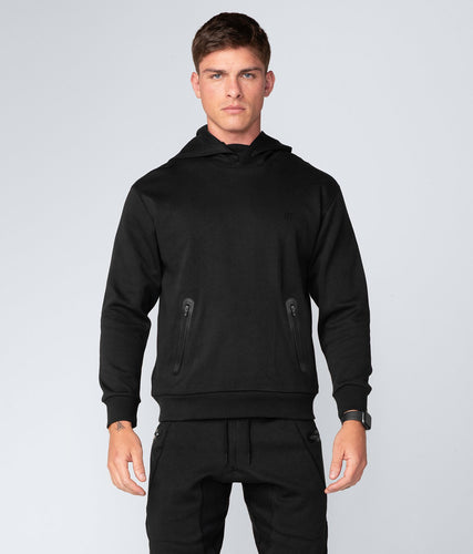 Born Tough United Kingdom Core Zippered Ultra-Soft Fabric Black Long Sleeve Gym Workout Hoodie for Men