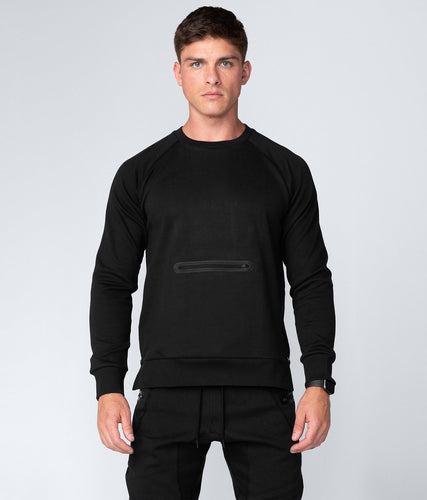Born Tough United Kingdom Drop Pocket Locking Side Zipper Black Crewneck Gym Workout Sweatshirt for Men