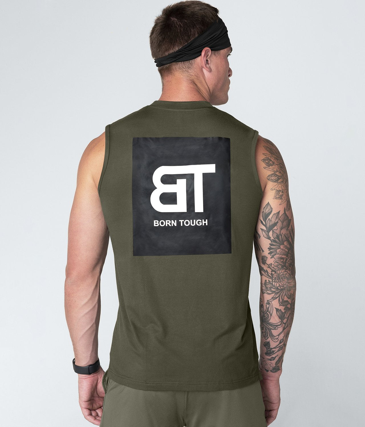 Born Tough United Kingdom Army Green Highly Breathable Sleeveless Gym Workout Shirt For Men