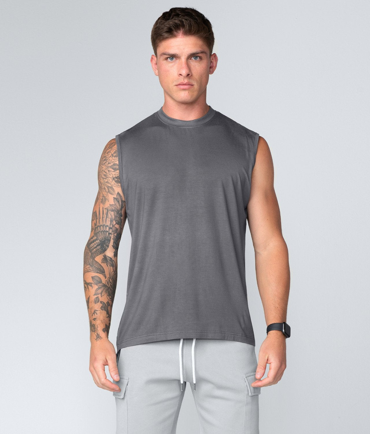 Born Tough United Kingdom Gray Curved Hems Sleeveless Gym Workout Shirt For Men
