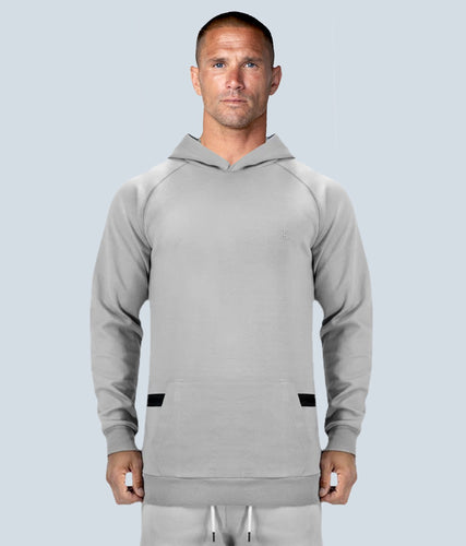 Born Tough United Kingdom Zippered Gray Signature Tech Fabric Long Sleeve Gym Workout Hoodie for Men
