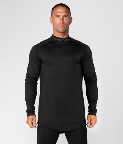 Born Tough United Kingdom Mock Neck Elegant Fitting Long Sleeve Compression Gym Workout Shirt For Men Black