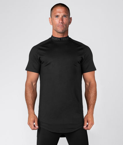Born Tough United Kingdom Mock Neck Elegant Fitting Short Sleeve Compression Gym Workout Shirt For Men Black