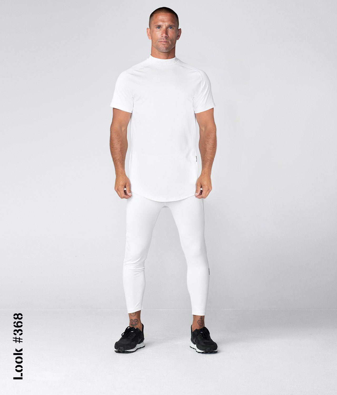 Born Tough United Kingdom Mock Neck High-Performance Short Sleeve Compression Gym Workout Shirt For Men White
