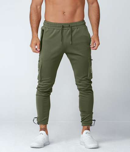 Born Tough United Kingdom Momentum Fitted Cargo High-Quality Gym Workout Jogger Pants For Men Military Green