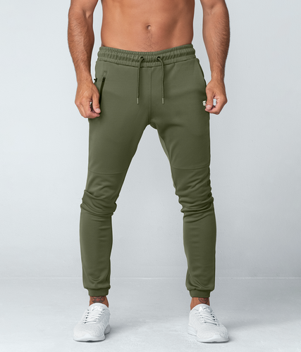 Born Tough United Kingdom Momentum Signature Two-Toned Design Workout Jogger Pants For Men Military Green