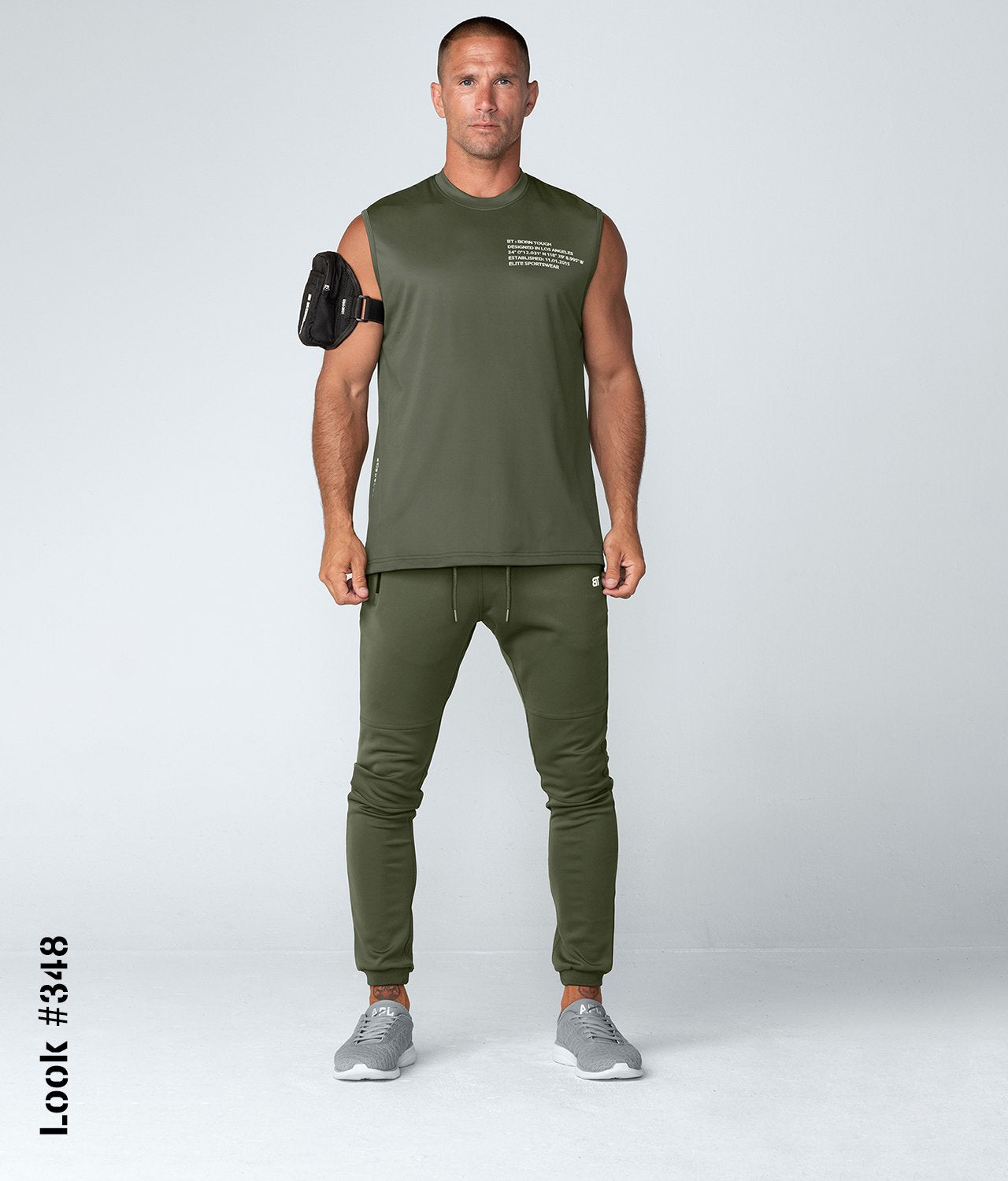 Born Tough United Kingdom Momentum 4-way Stretched Sleeveless Fitted Tee Gym Workout Shirt For Men Military Green