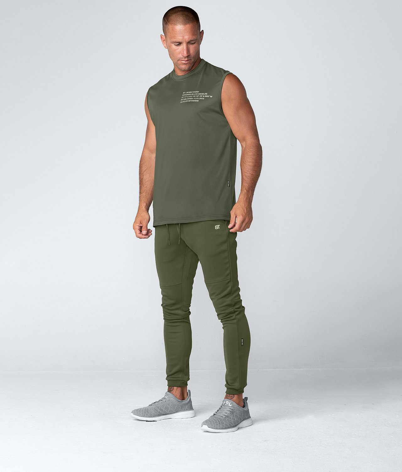 Born Tough United Kingdom Momentum Extended Back-Hem Sleeveless Fitted Tee Gym Workout Shirt For Men Military Green