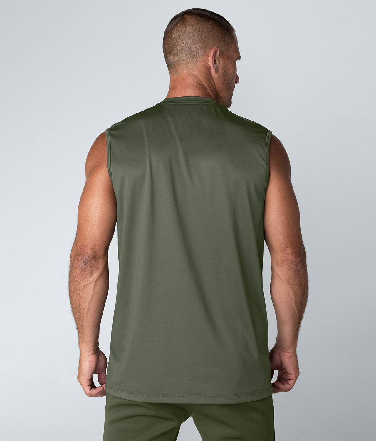 Born Tough United Kingdom Momentum Extremely Soft Sleeveless Fitted Tee Gym Workout Shirt For Men Military Green