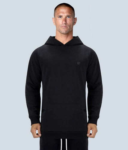 Born Tough United Kingdom Zippered Black Signature Tech Fabric Long Sleeve Gym Workout Hoodie for Men