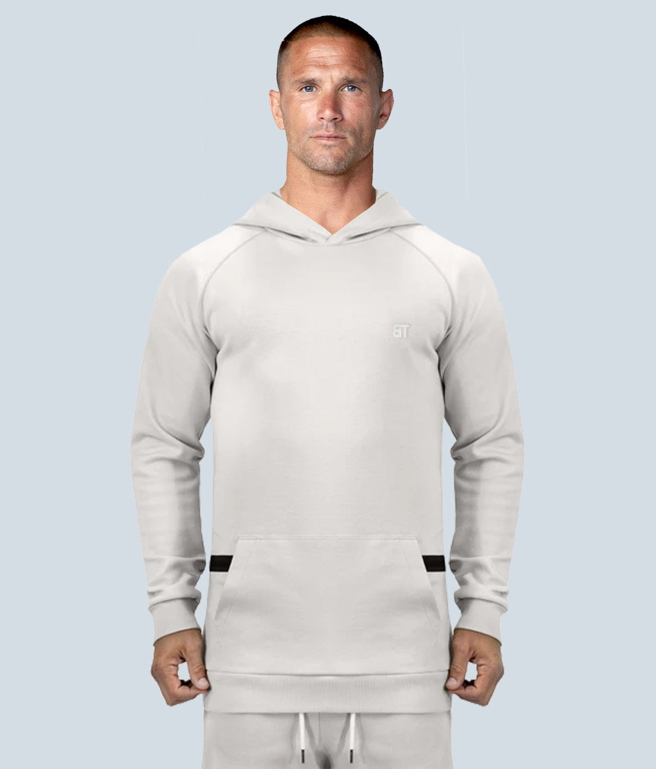 Born Tough United Kingdom Zippered Stone Signature Tech Fabric Long Sleeve Gym Workout Hoodie for Men