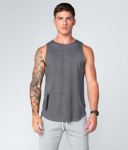 Born Tough United Kingdom Zippered Gray Signature Blend Gym Workout Tank Top for Men
