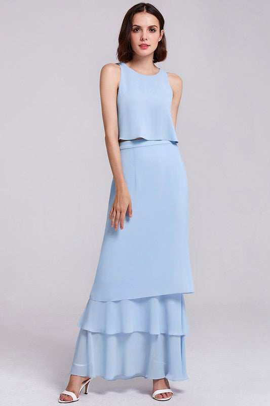 Elegant Two-Piece Sleeveless Layered