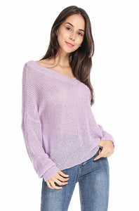Soft Fabric V Neck Long Sleeve Knit Sweater