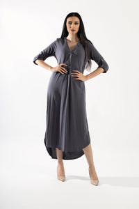 Rolled Up Sleeve Maxi Dress