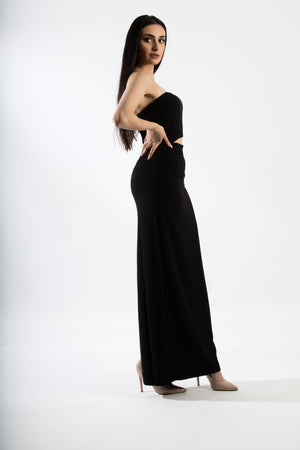 Strapless Black With Mid Slit