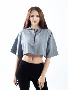 Grey Crop Top With Zipper