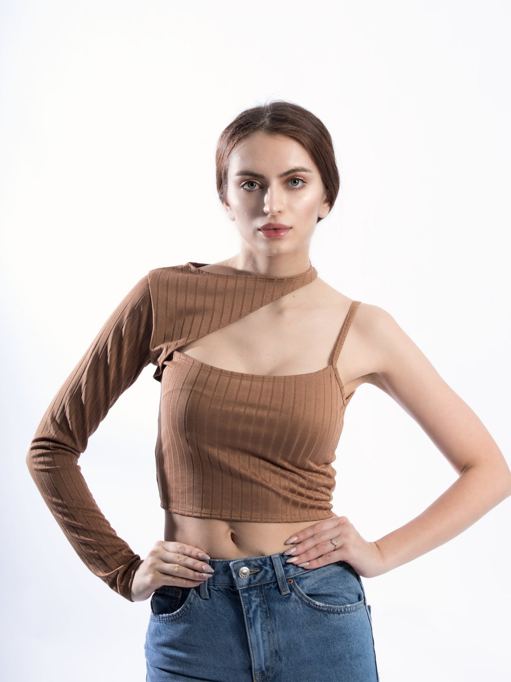 One Sleeve Crop Top With Slash Neck
