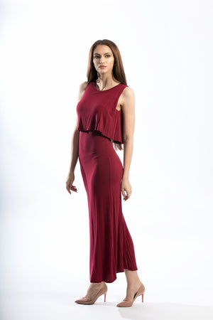 Sleeveless Ruffled Round Neckline Ribbed Jersey MAXI