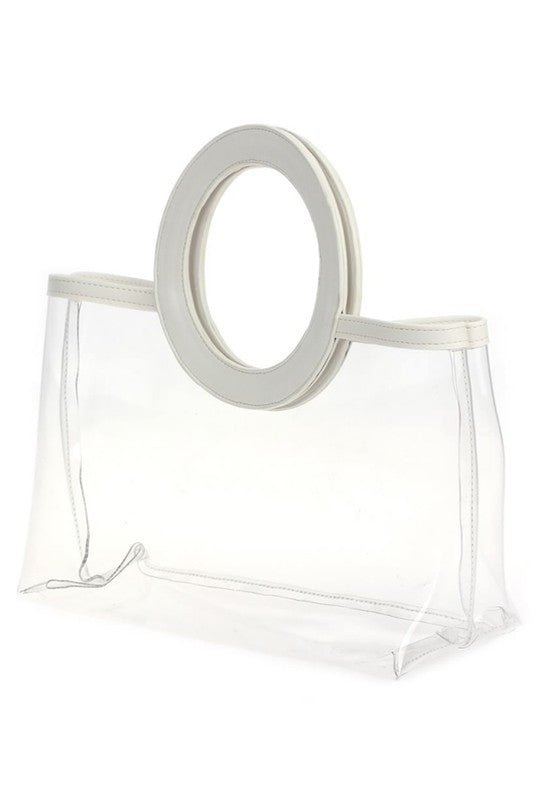 Trimmed Round Handle Bag (White)