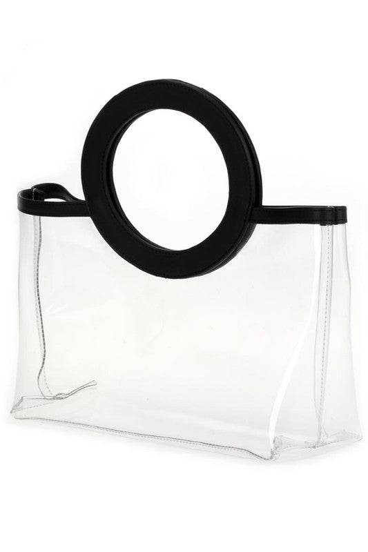 Trimmed Round Handle Bag (Balck)