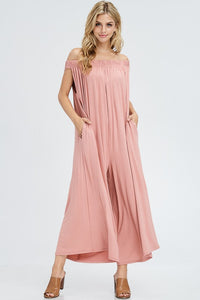 Mauve Off Shoulder Jumpsuit