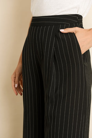 Pinstripe High-Waisted Pants