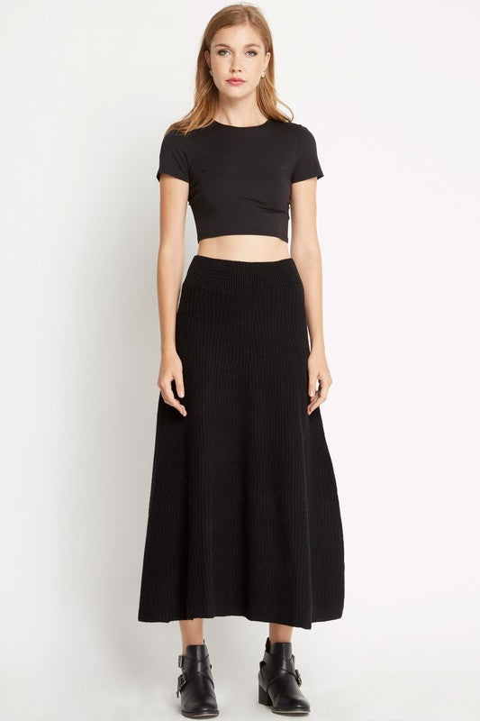 High Waisted Knitted Skirt - Black