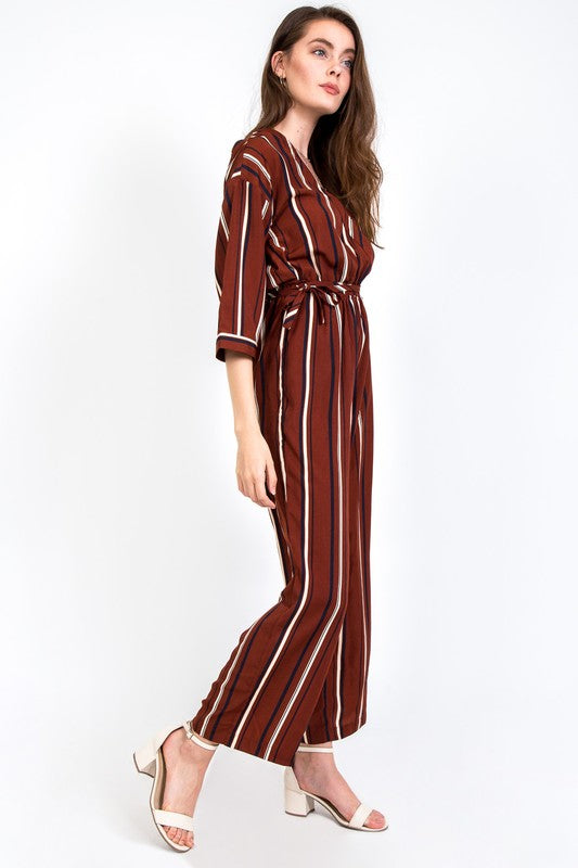 Marron Striped Jumpsuit