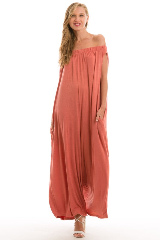 Coral Off Shoulder Jumpsuit