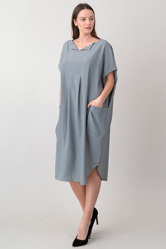 Grayish Blue Midi Dress