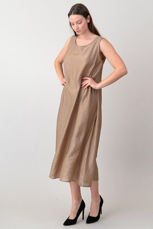 Beige Sleeveless Maxi Dress