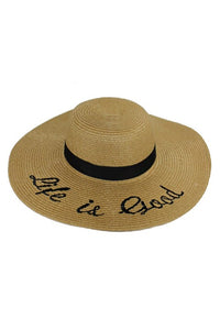 Life Is Good Embroidered Sun Hat